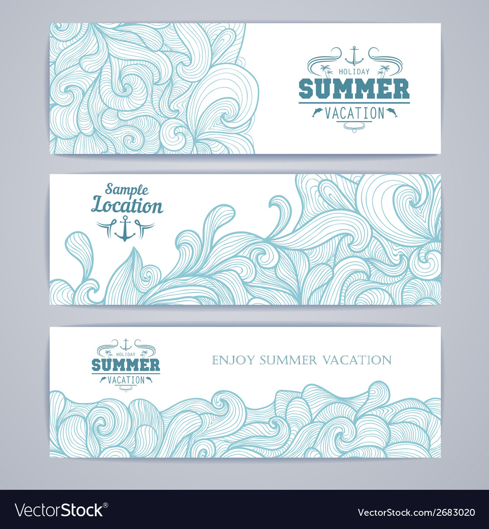 Set of banners ocean summer decorative background vector