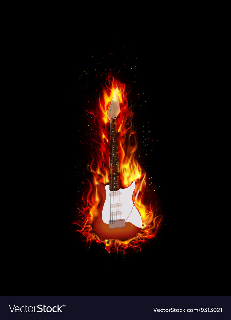 Fire burning guitar black background vector
