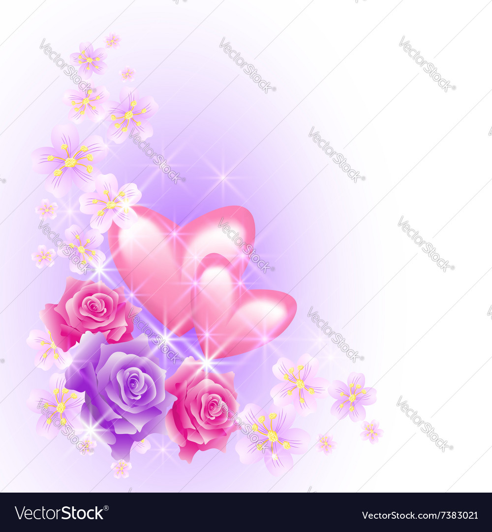 Pink hearts with roses vector