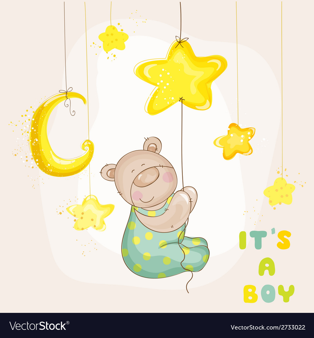 Baby bear with moon and stars vector