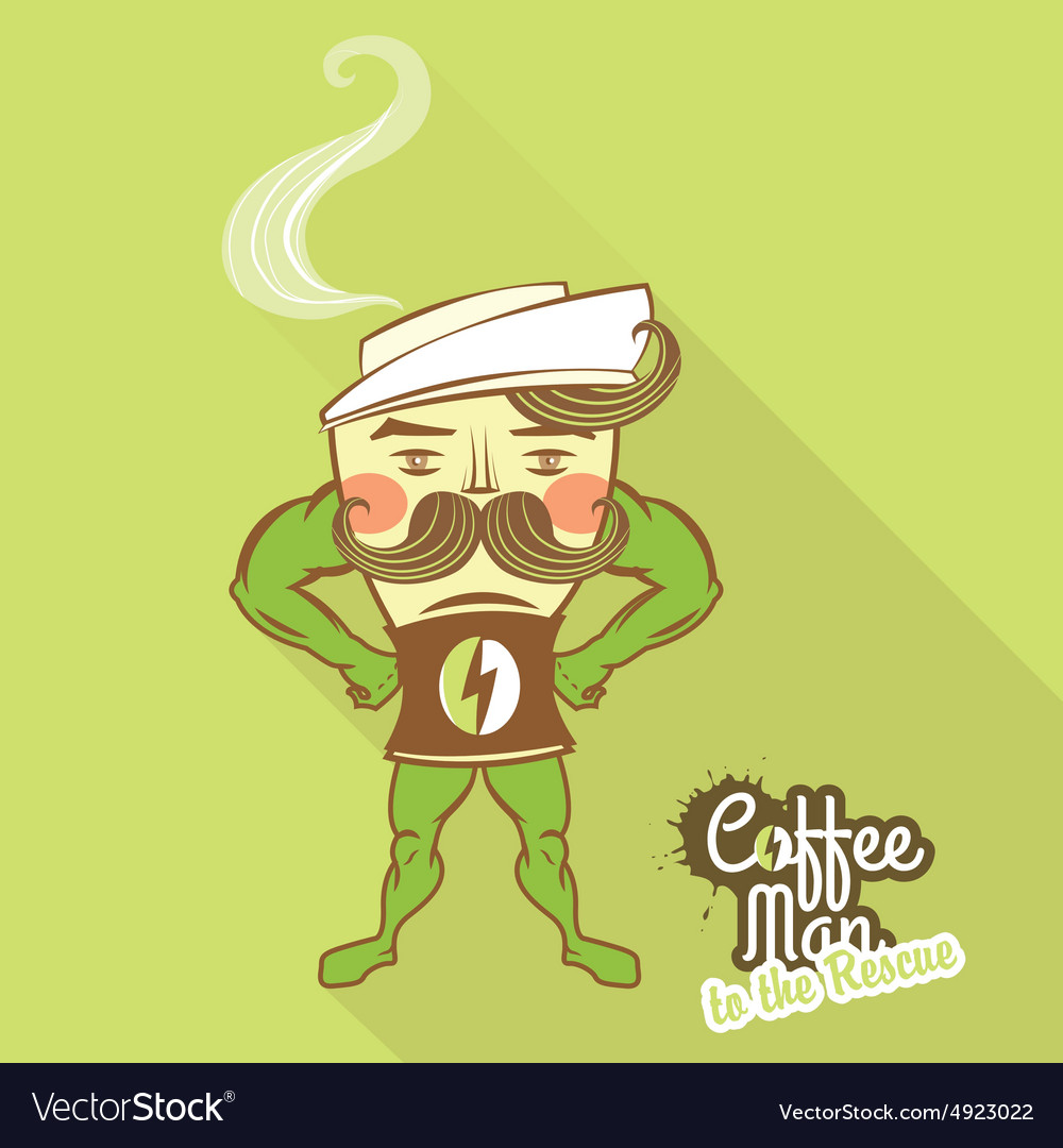 Coffee man character standing with his hands on vector