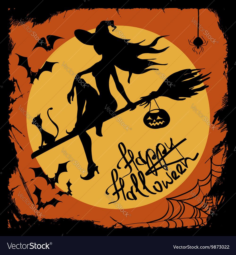 Halloween with witch silhouette vector