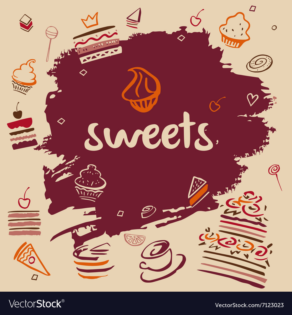 Banner handdrawn sweets vector
