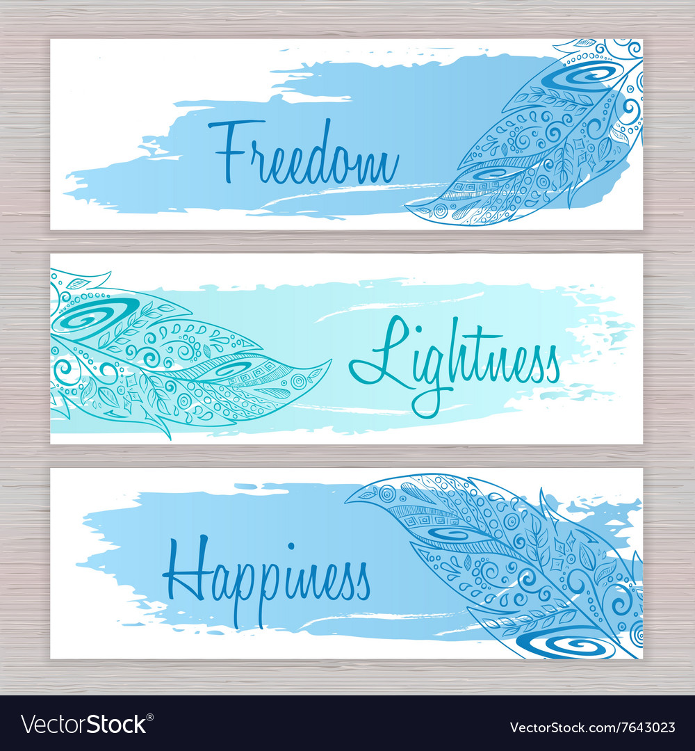 Printable hippie banners with hand drawn zentangle vector