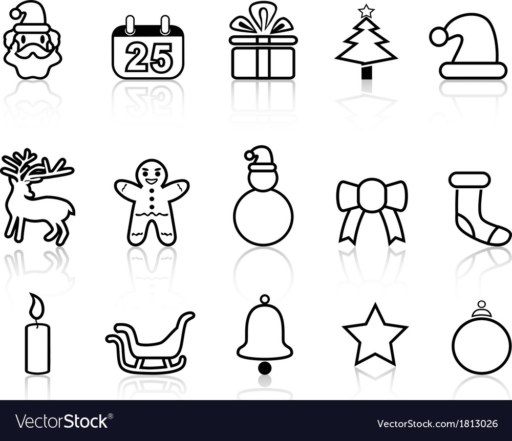 Black christmas line icons vector