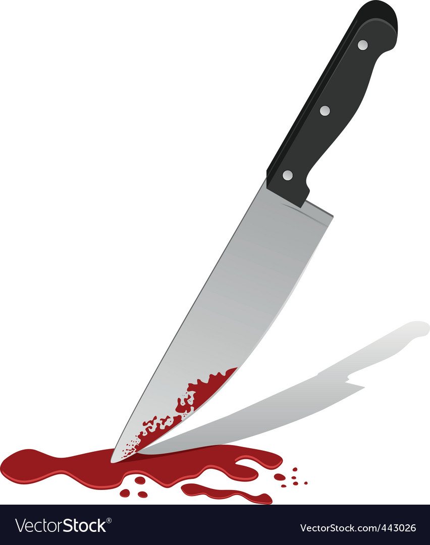 Knife with blood vector