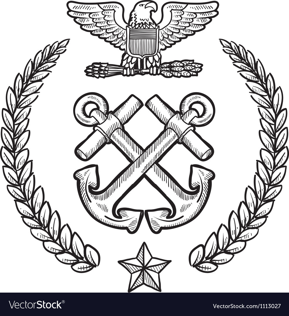 Doodle us military wreath navy vector