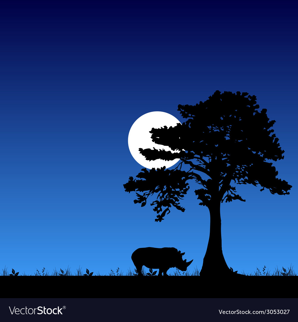 Rhino under the tree and moon vector