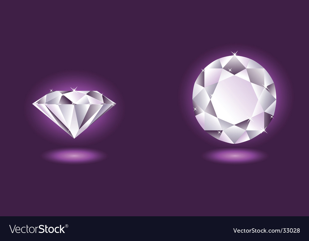 Diamond on purple background vector