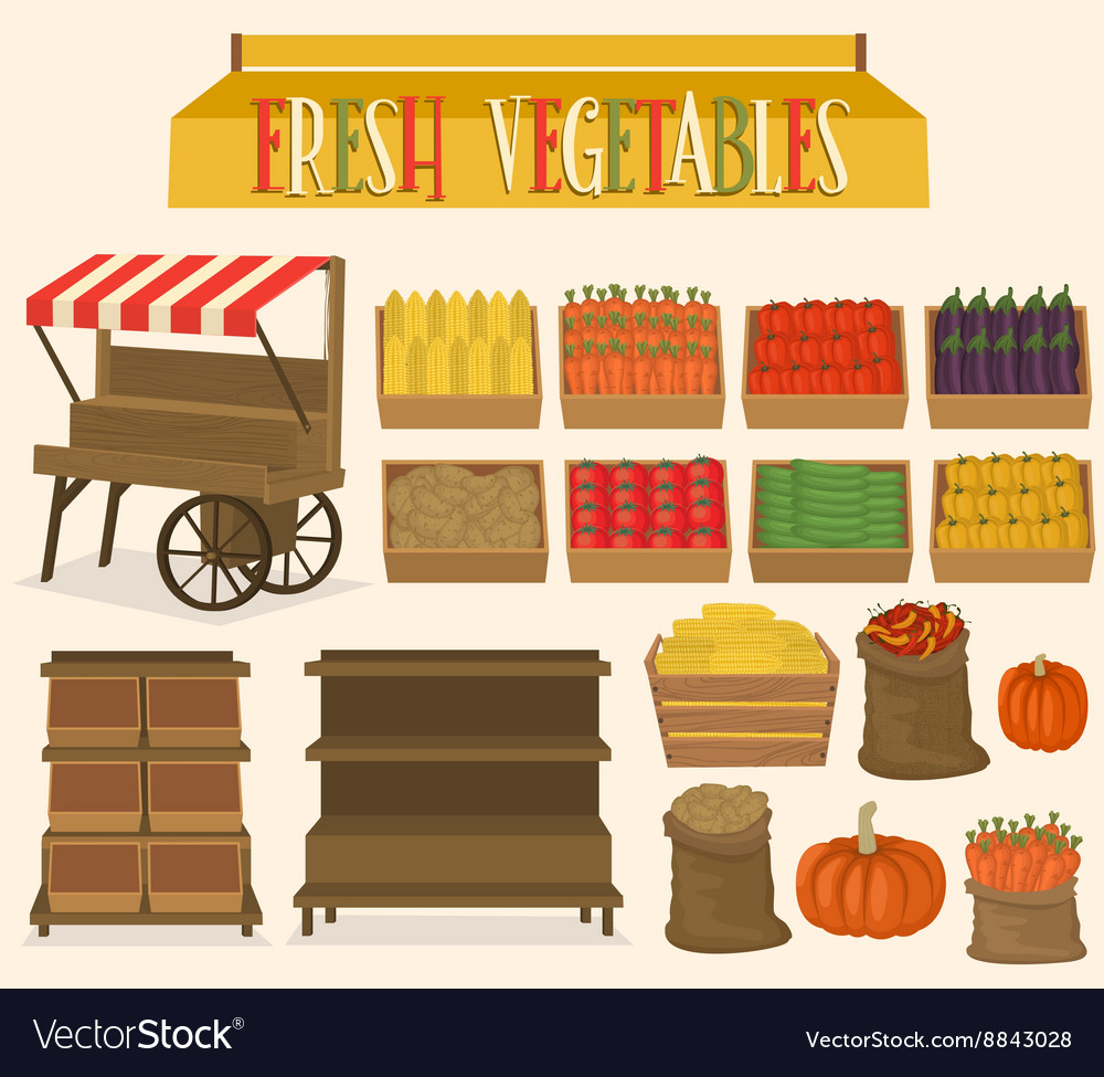 Set for street markets in vegetables vector