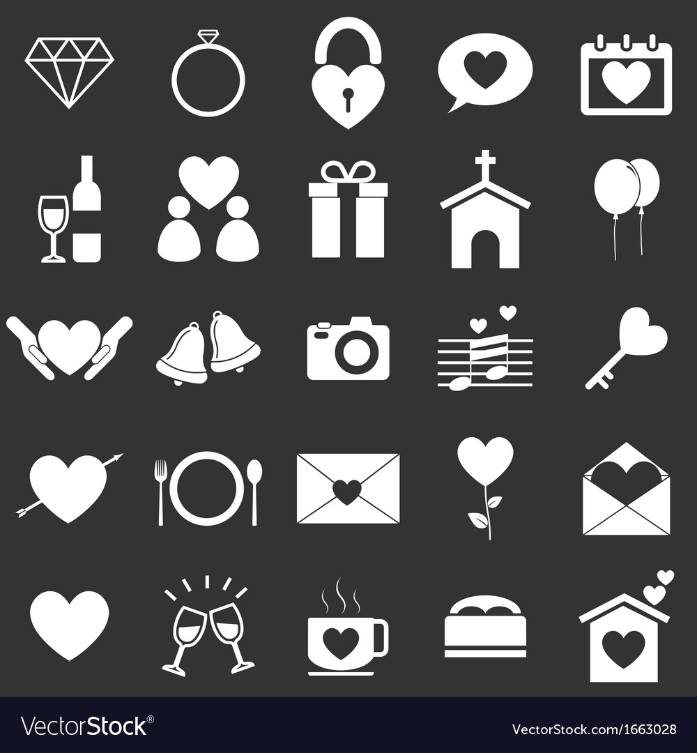Wedding icons on black background vector