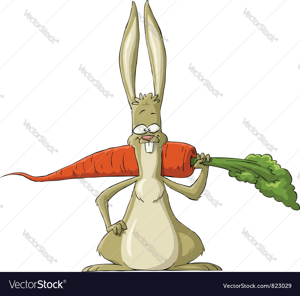 Rabbit with carrot vector