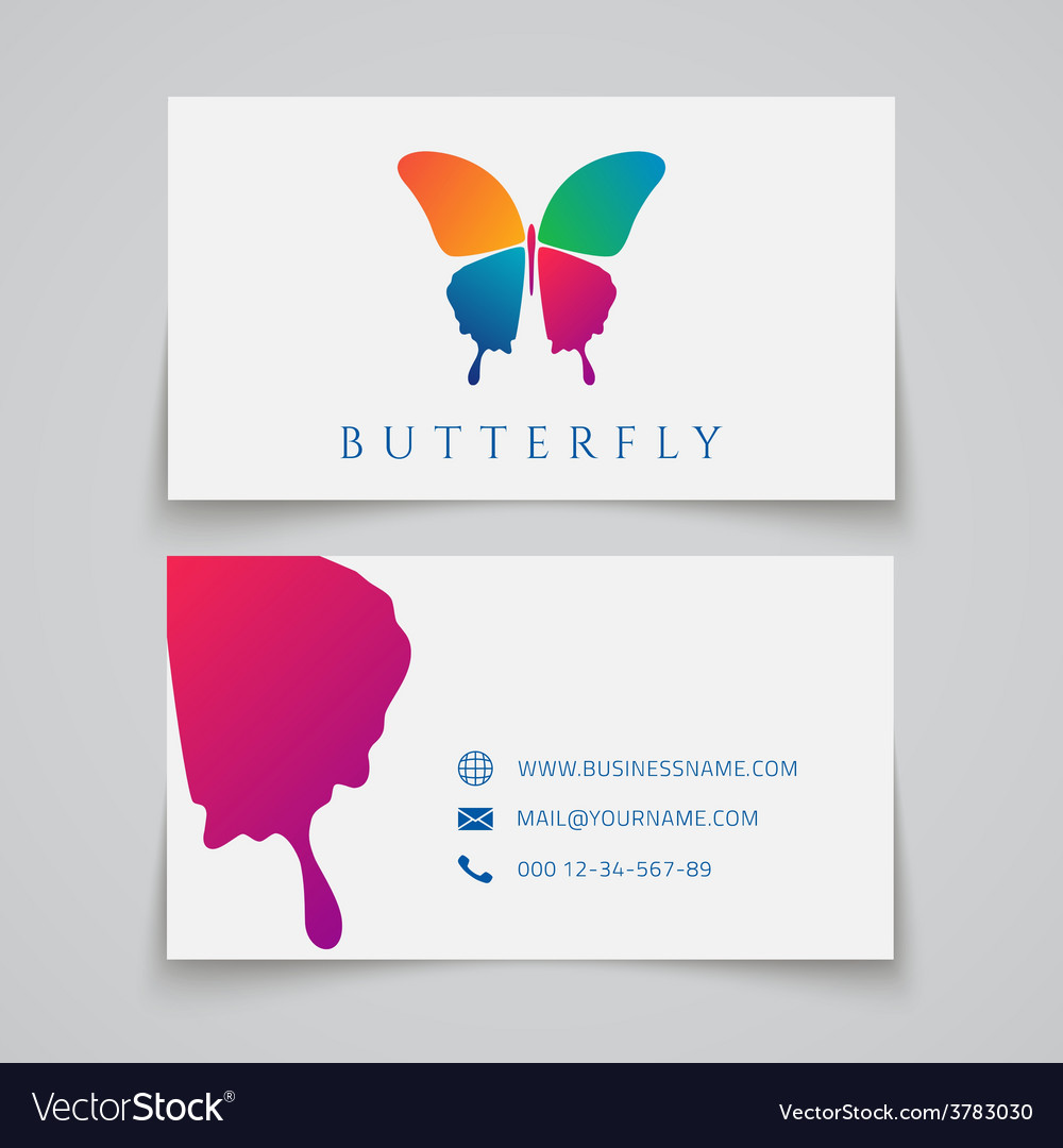 Bussiness card template butterfly logo vector