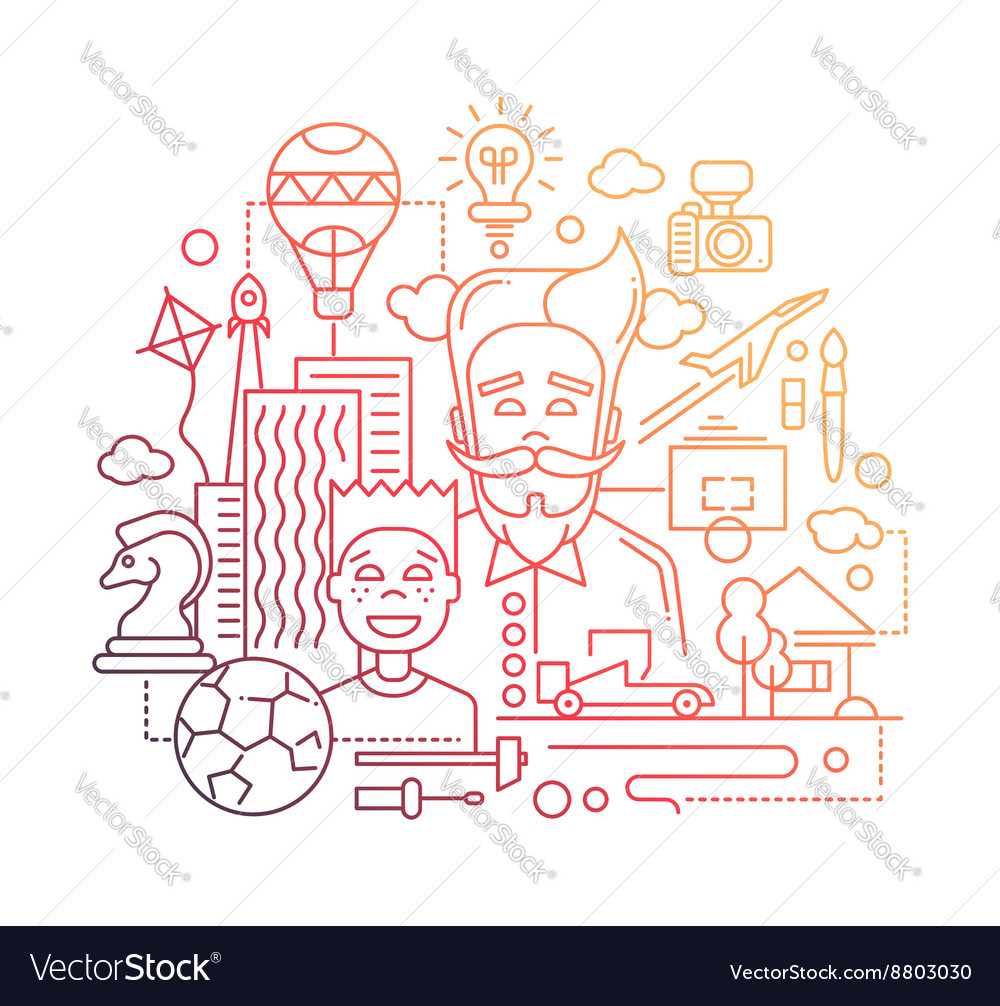Common interests hobbies  father and son line vector