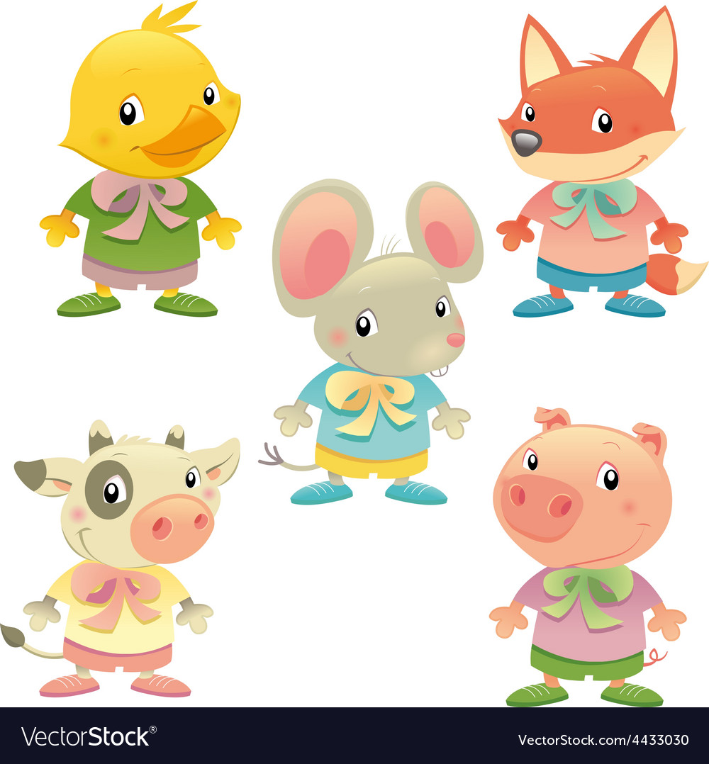 Cute animal family vector