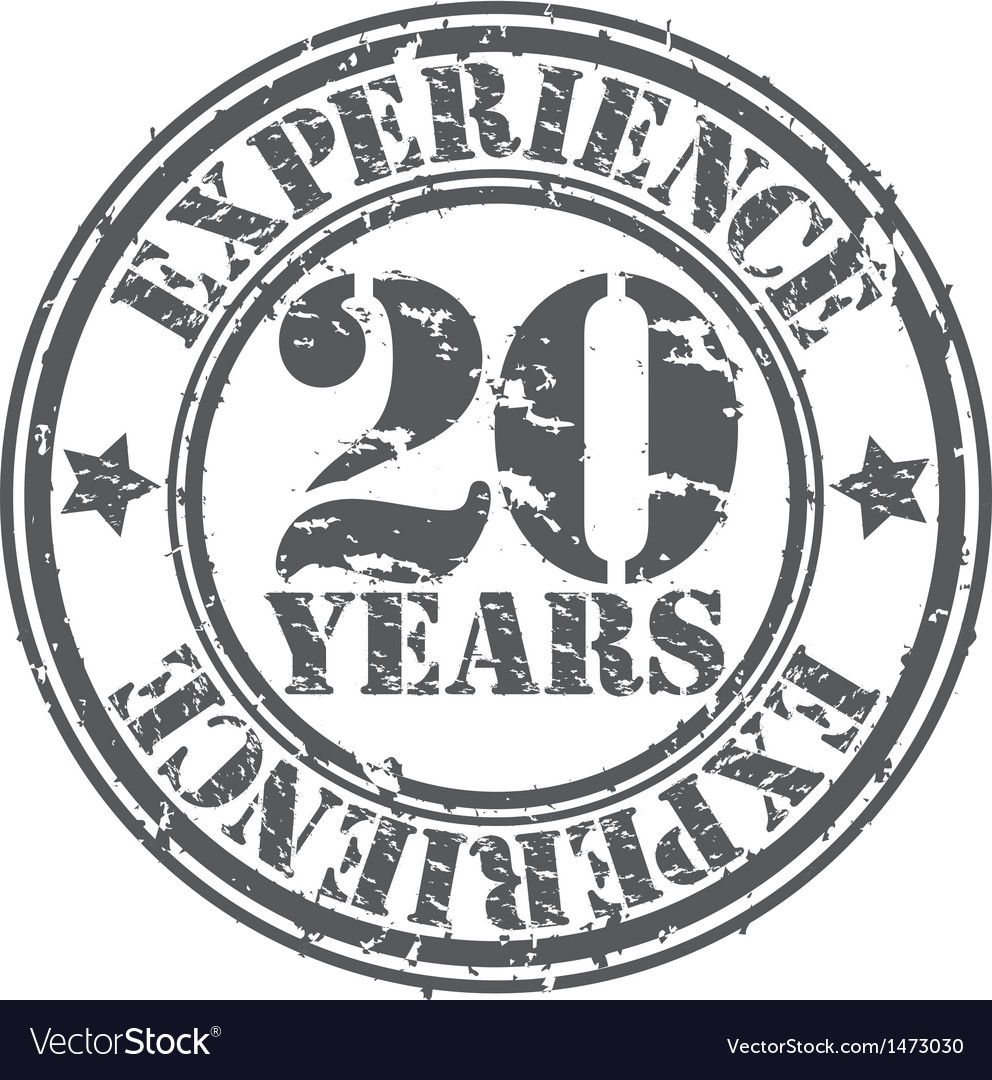 Grunge 20 years of experience rubber stamp vector