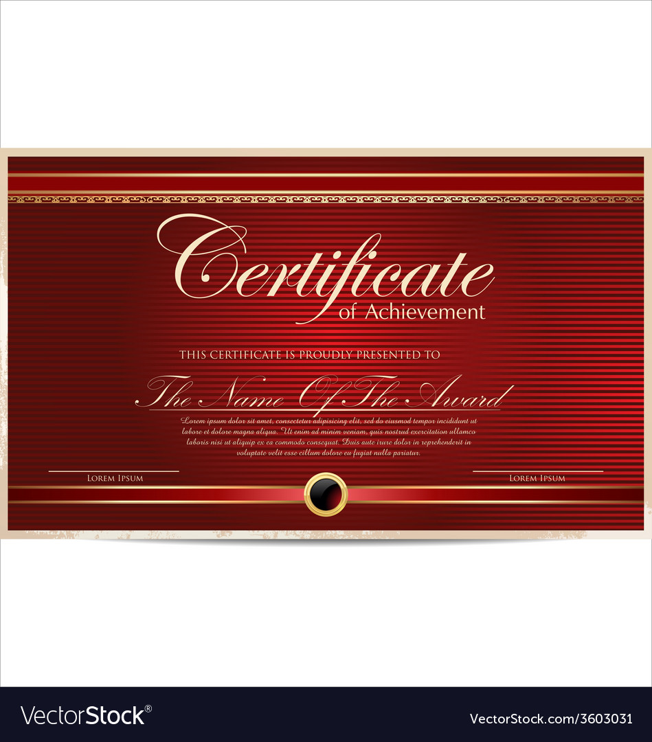 Red certificate template vector