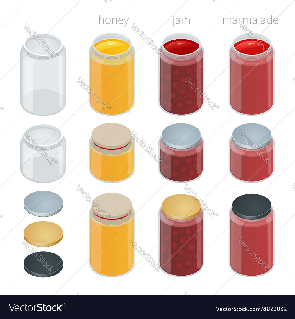Glass jar with with jam configure or honey vector