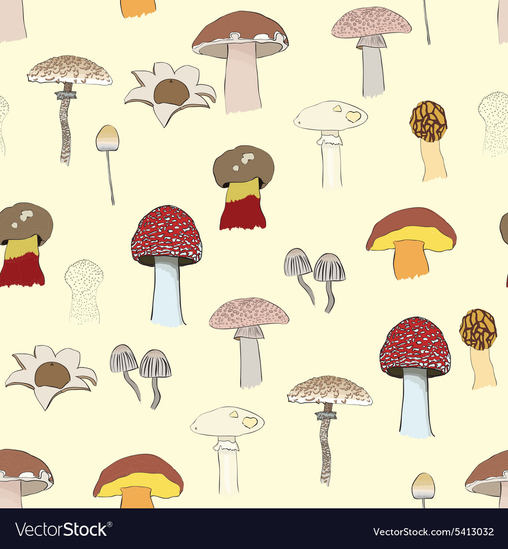 Mushrooms pattern vector