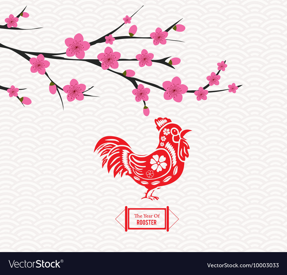 Blossom chinese new year rooster and background vector