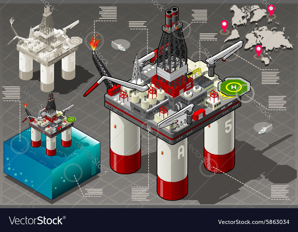 Isometric infographic rig energy vector