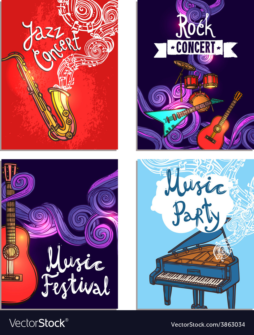 Music mini poster set vector