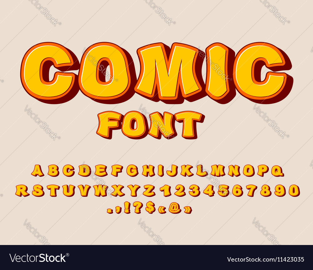 Comic font bang alphabet bright cartoon abc yellow vector
