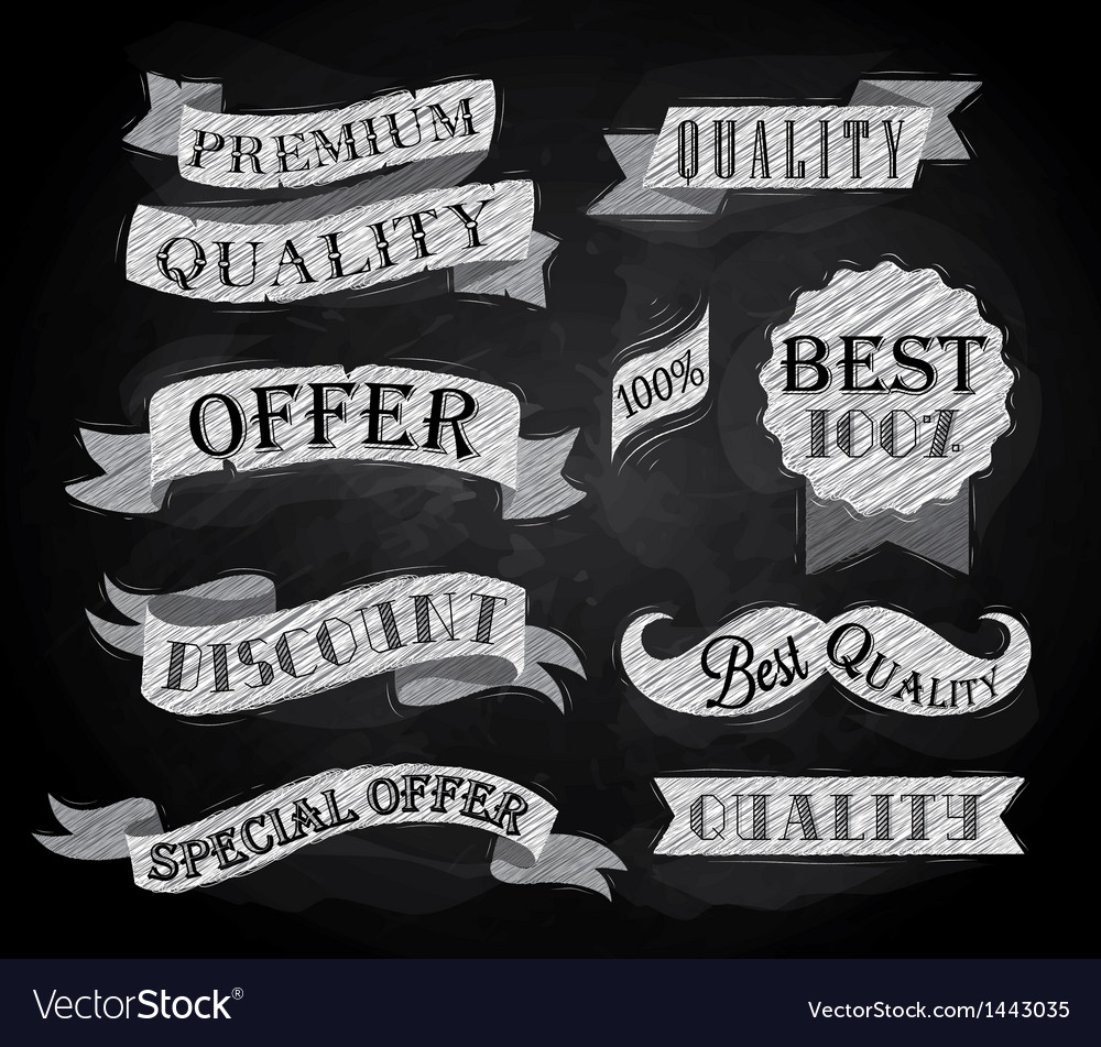 Set of retro ribbons and labels chalk vector