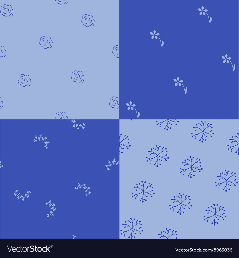 Damask four patterns vector