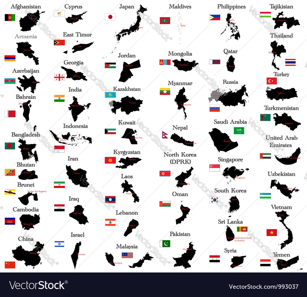 Countries of asia vector