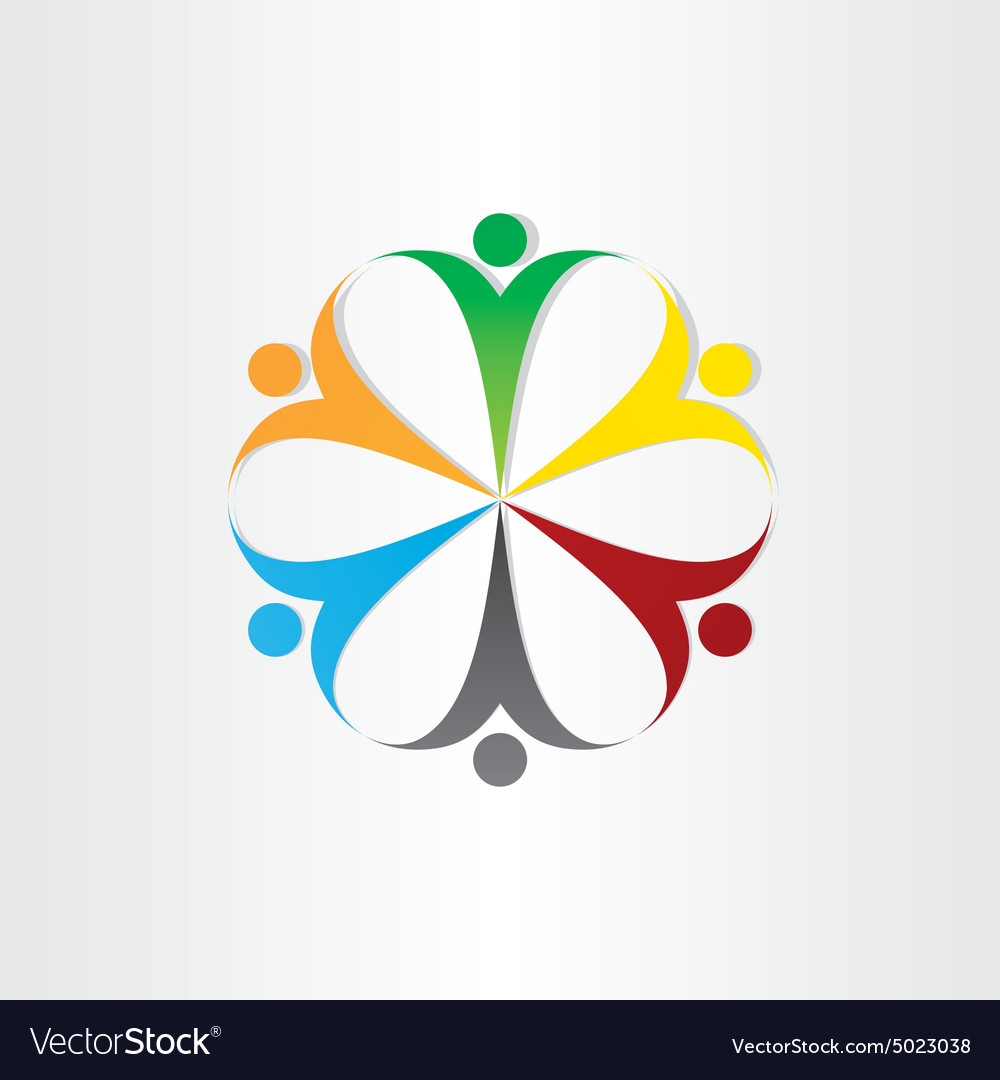 Circle icon people teamwork symbol vector