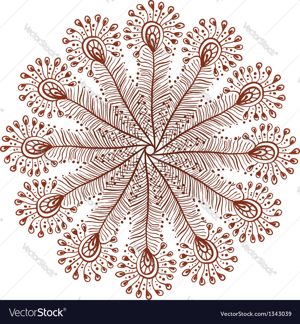 Henna colors doodle peacock feathers circle vector