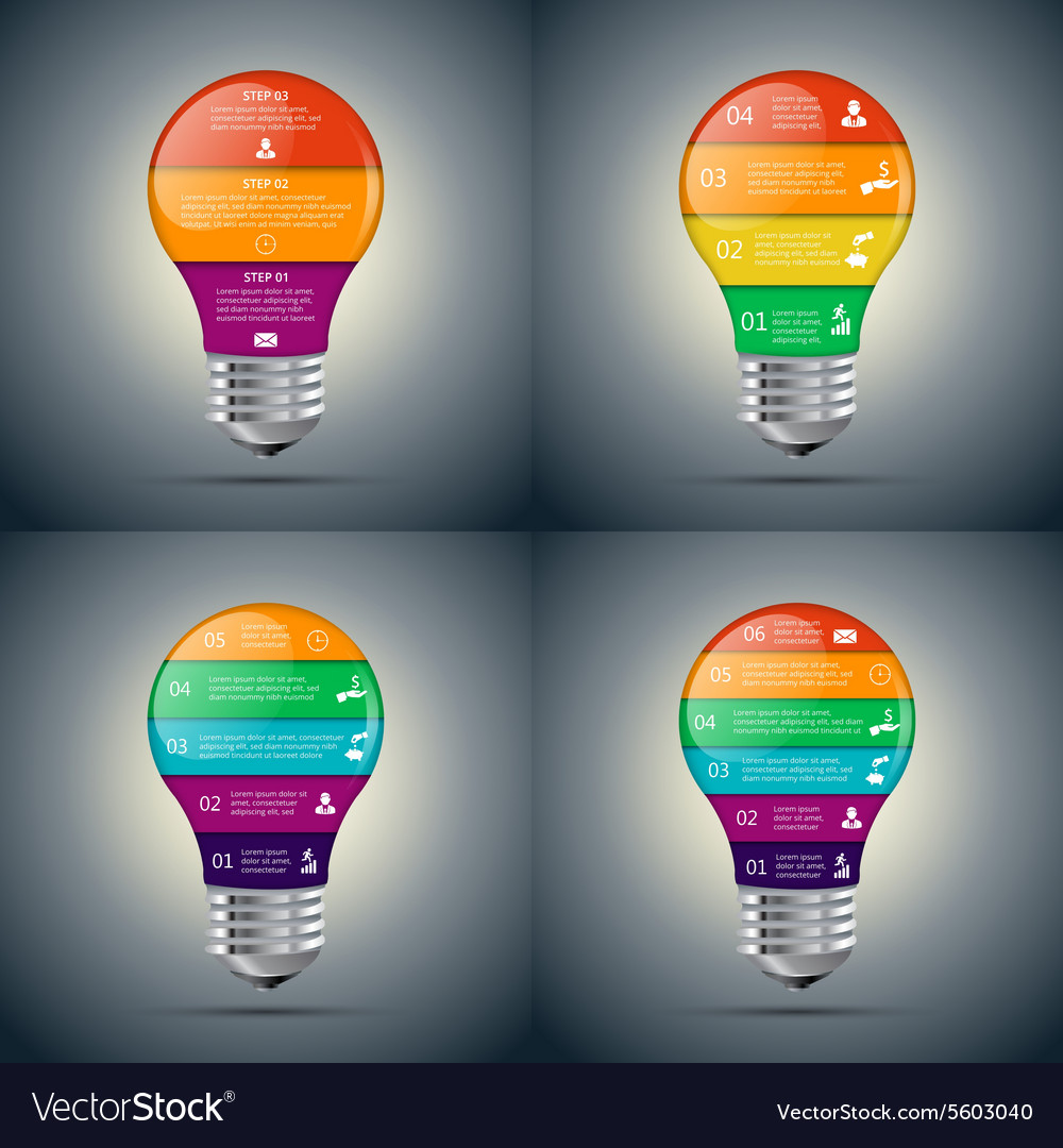 Lightbulb set for infographic vector