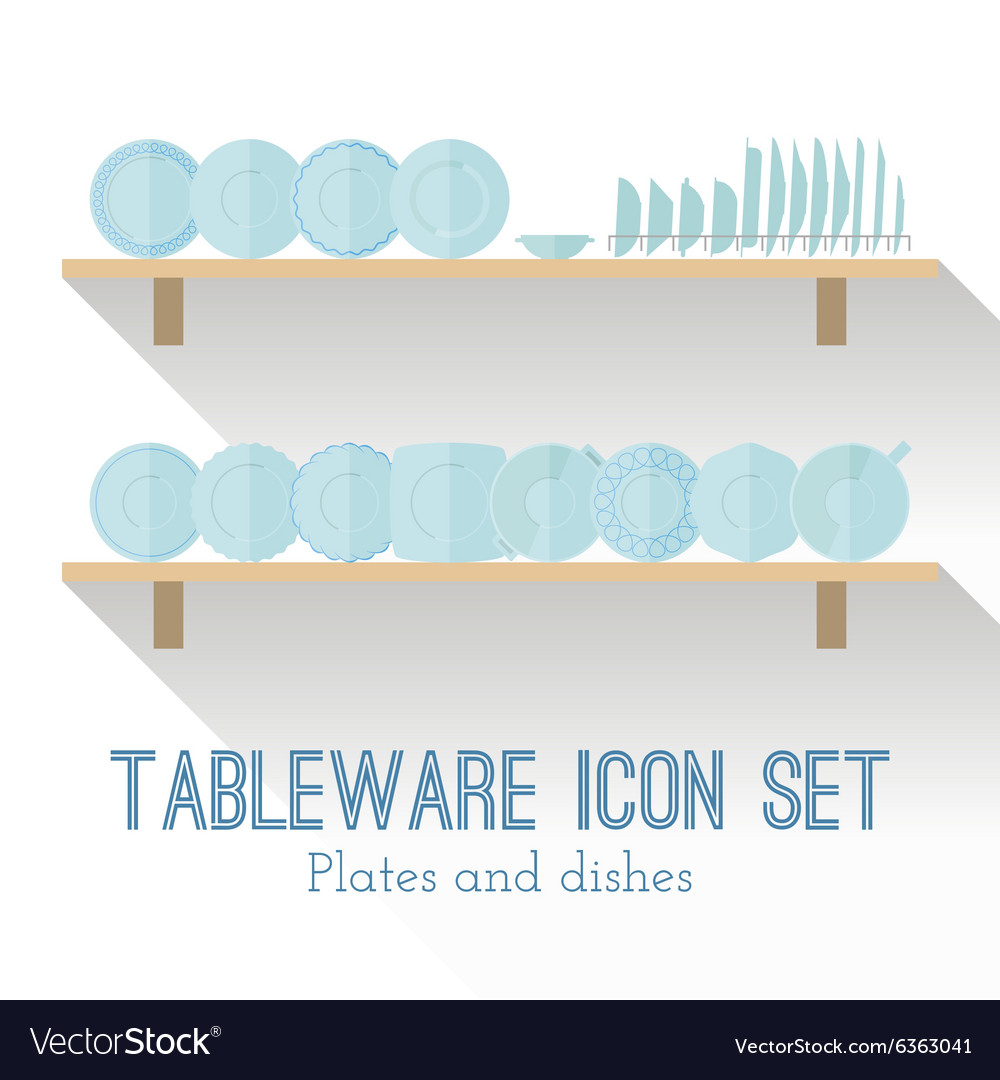 Flat set of different icons plates vector