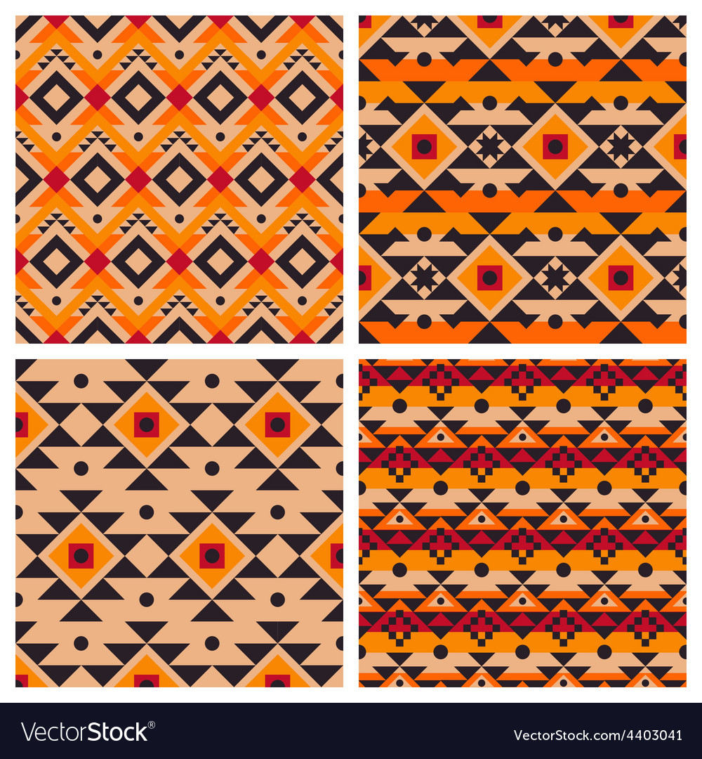 Geometric ethnic aztec mexican seamless patterns vector
