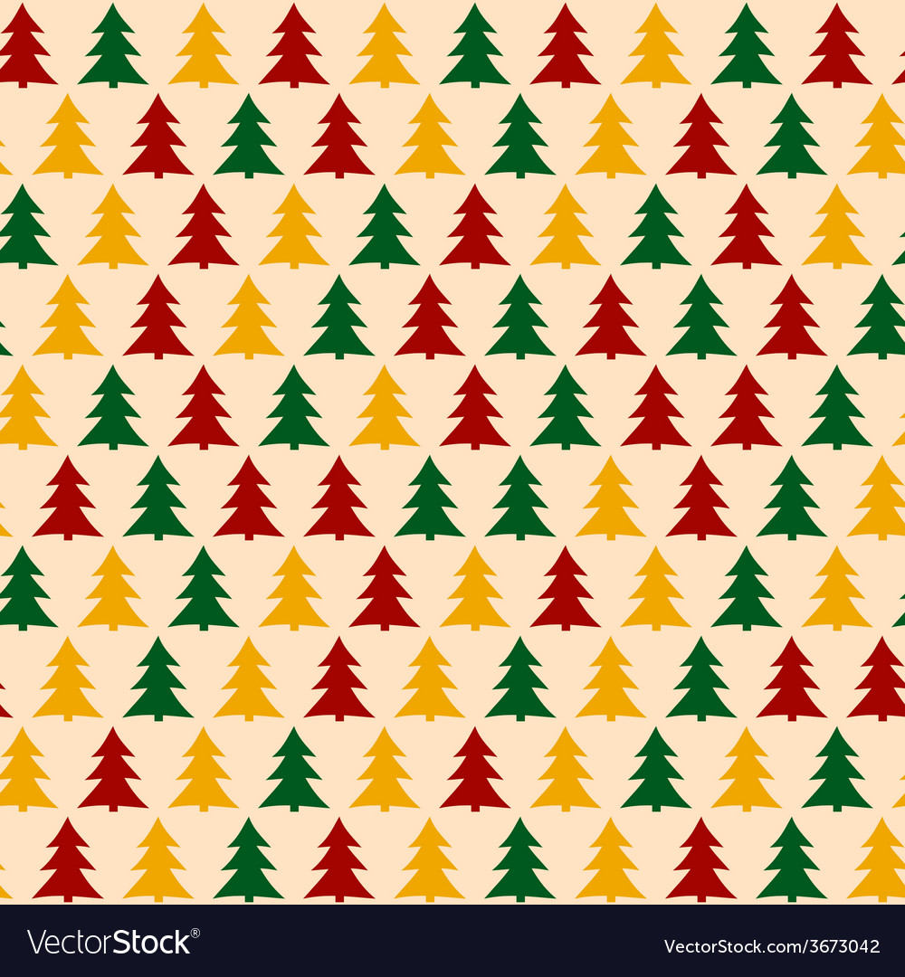 Christmass pattern with pines seamless background vector