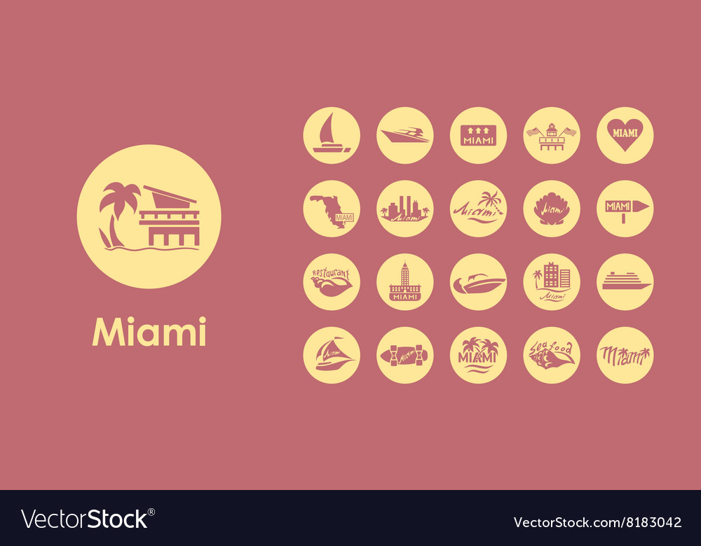 Set of miami simple icons vector