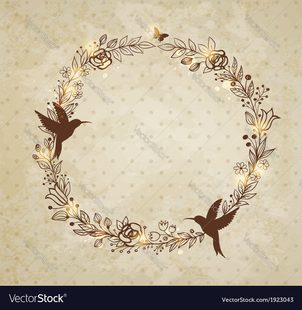 Vintage hand drawn wreath of flowers vector