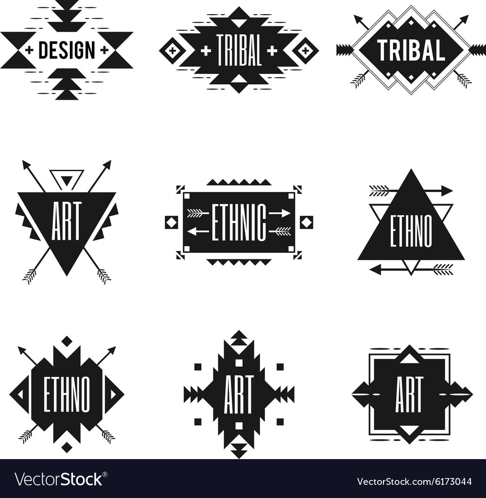 Ethnic logo set vector