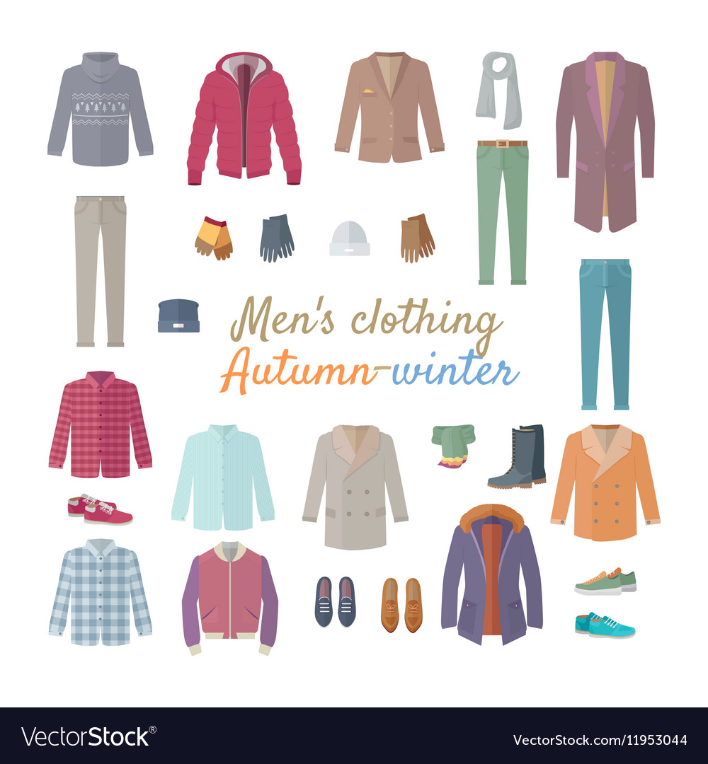 Men s clothing autumn winter collection vector