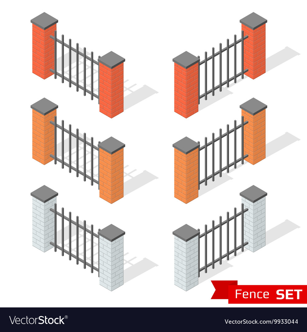 Set of three different color fence sections vector