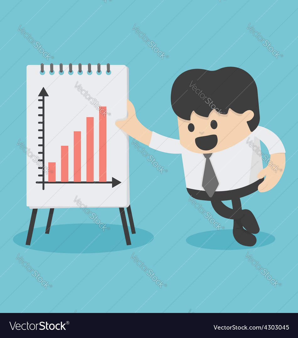 Businessman presenting growth chart vector