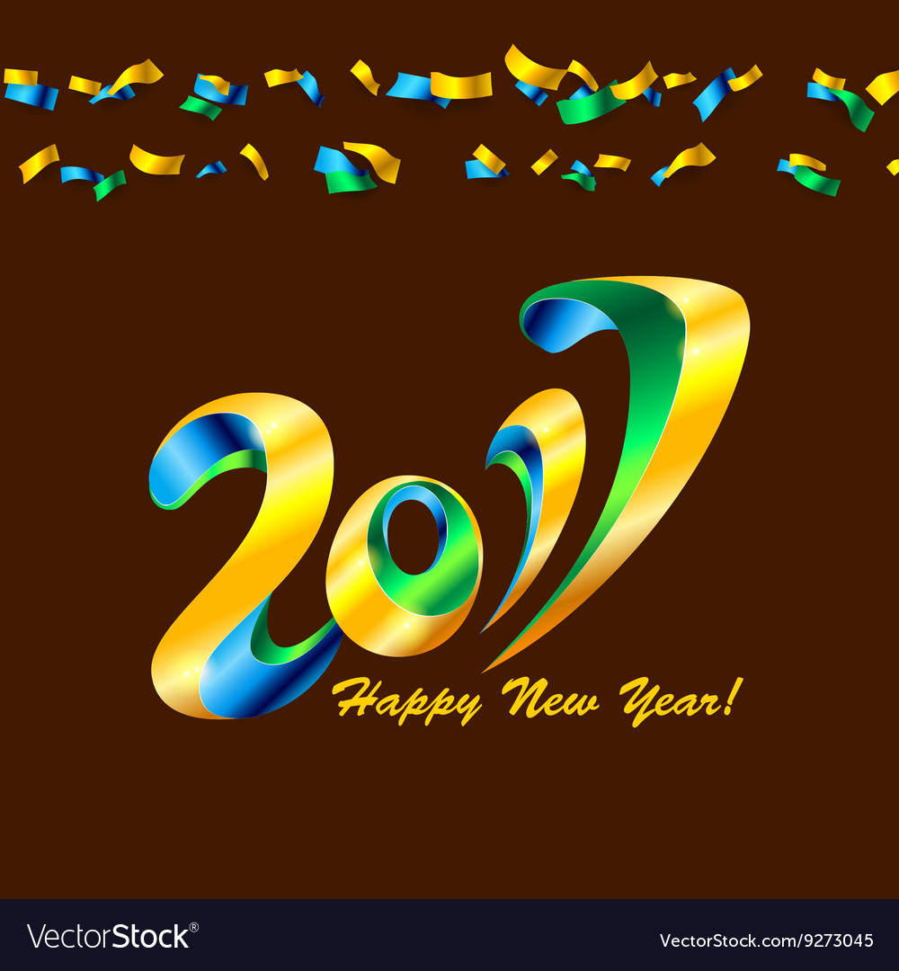 New year 2017 celebration background with confetti vector