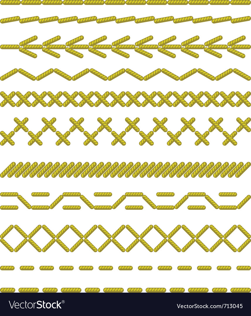 Sewing stitches pattern vector