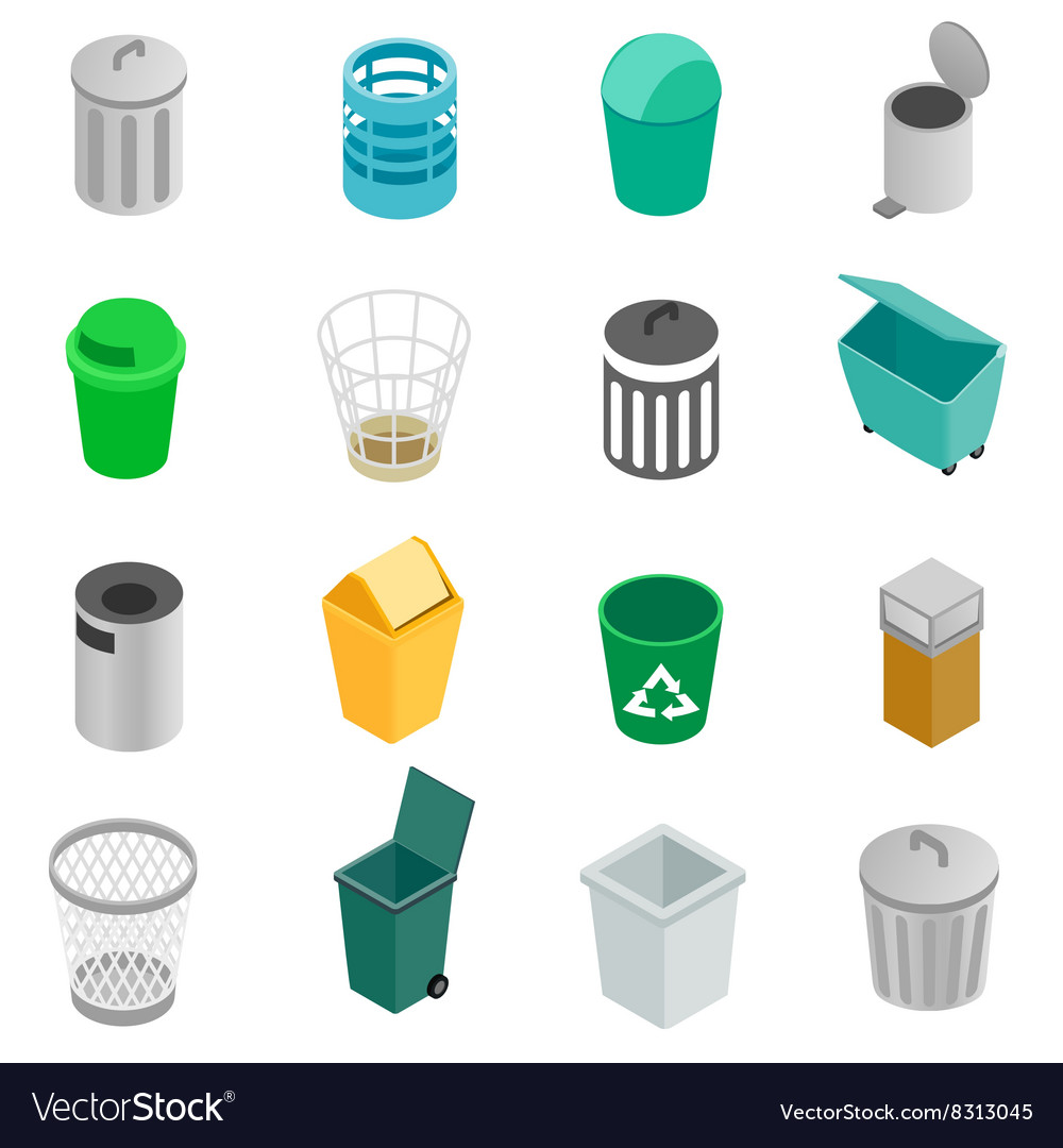 Trash can icons set isometric 3d style vector