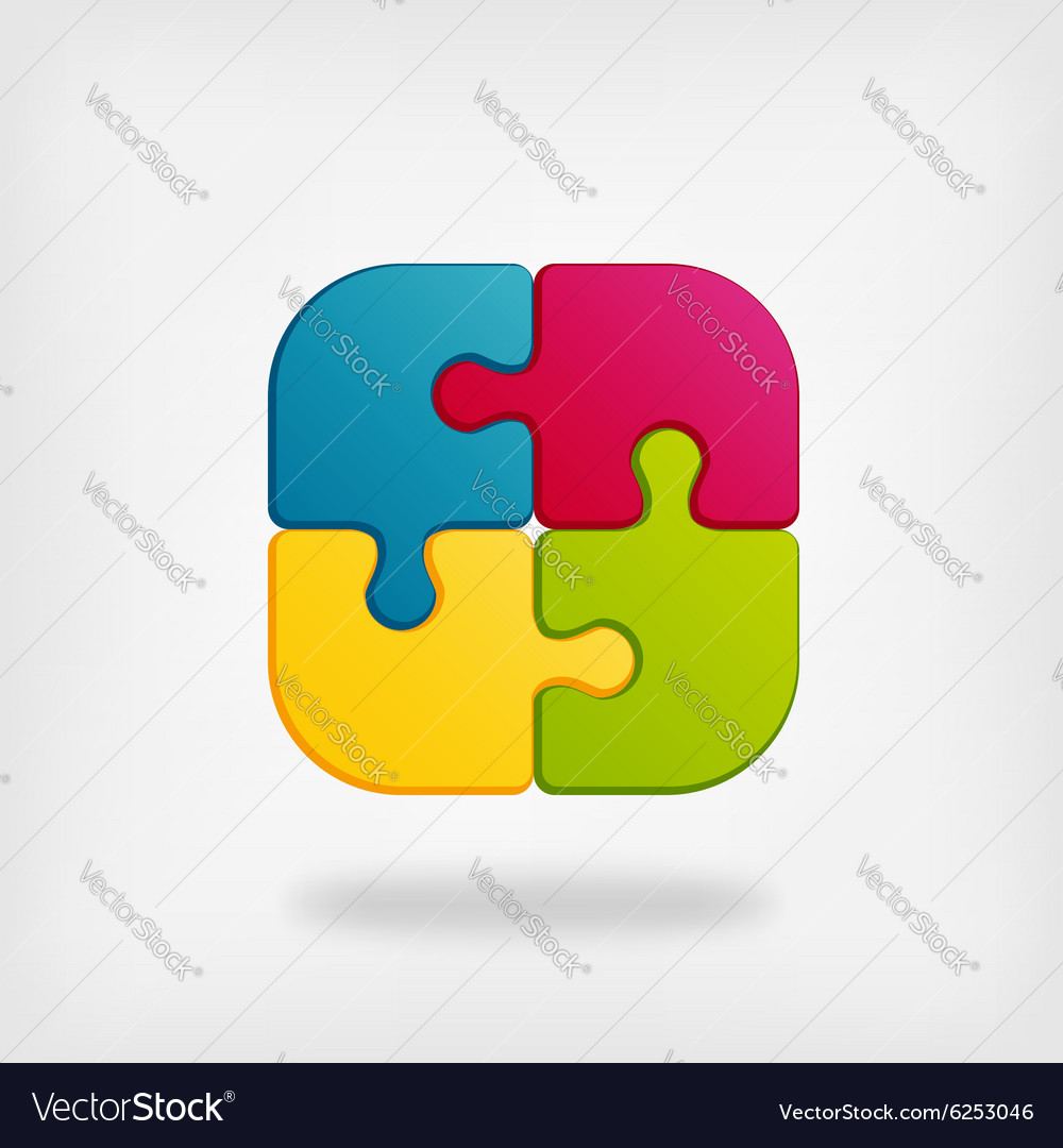 Color puzzle creative symbol vector