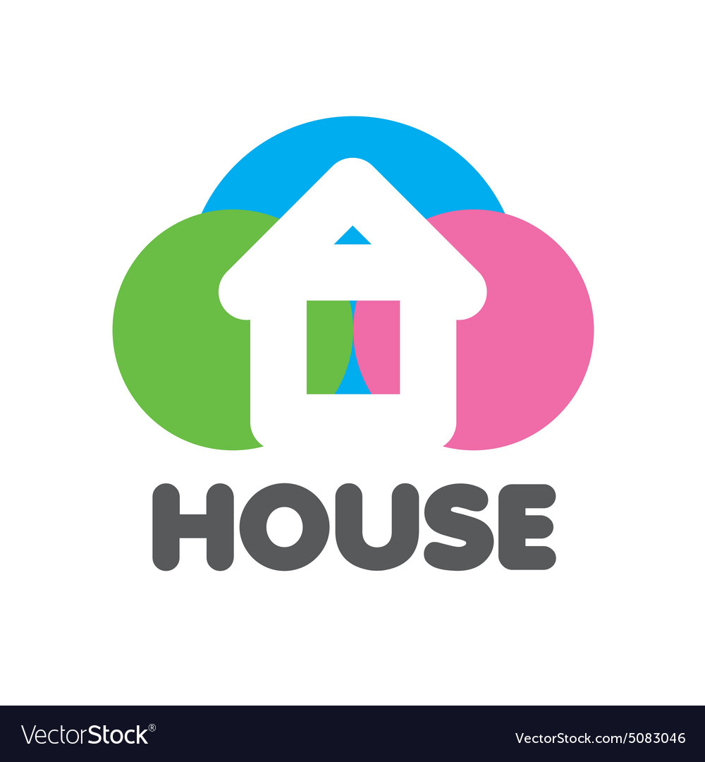 Logo house on a background of colorful circles vector