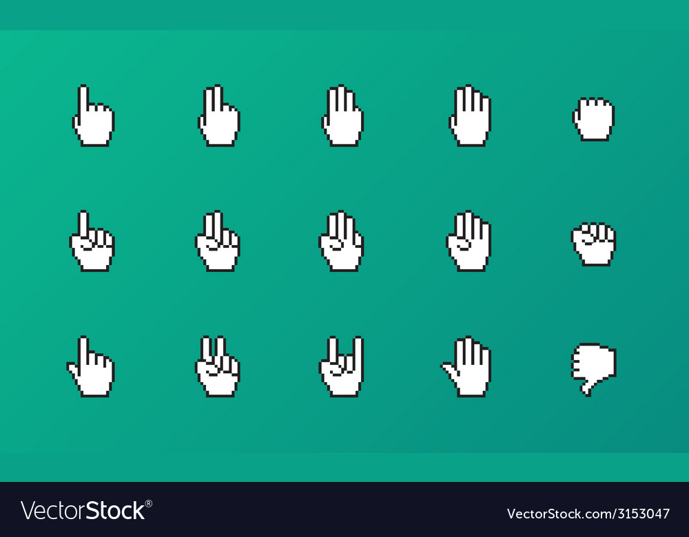 Pixel cursors icons mouse hands vector