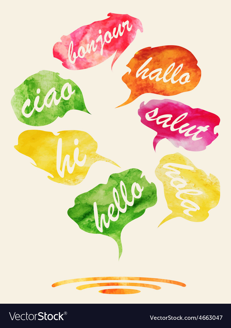 Watercolor speech and thought bubbles vector