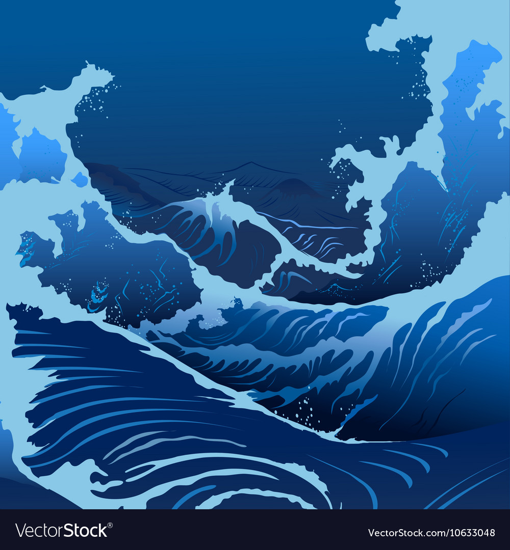 Blue waves in the japanese style vector